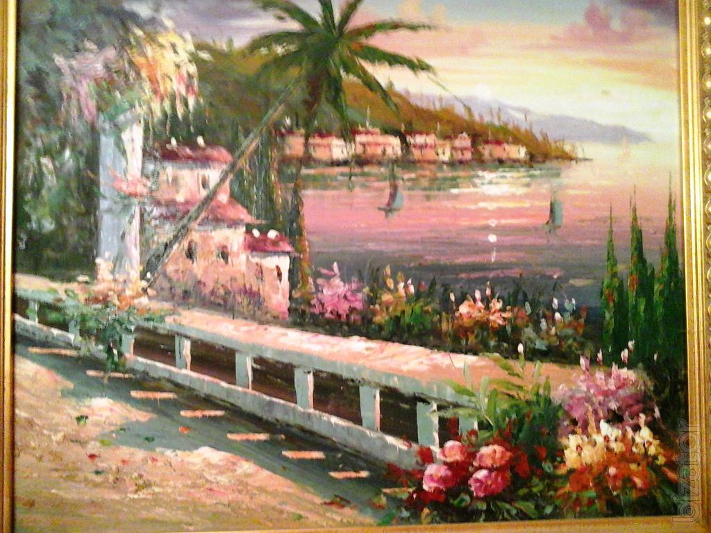 Картина маслом. Средиземноморский пейзаж.