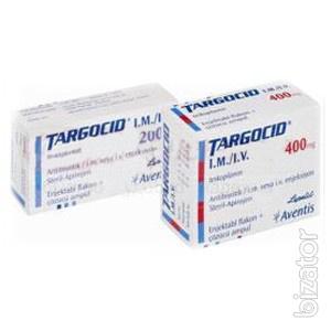 Таргоцид (Тейкопланин) инф. 200 мг фл., с амп. 3, 2 мл / 1 шт; 400 мг