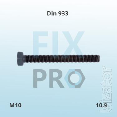 Болт нержавеющий с шестигранной головкой полная резьба DIN 933 высокопрочный 8.8 10.9 12.9 нержавеющая A2 A4