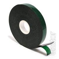 Скотч двухсторонний вспененный черно-зеленый 2 м/19 мм
