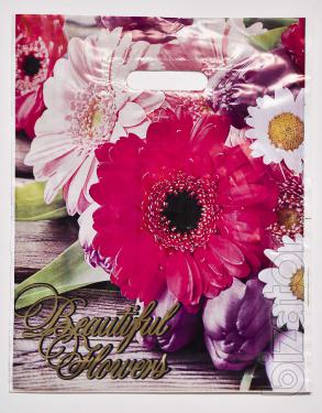 Пакет цветочная тематика 30х40 см, 50 шт, 50 мкм