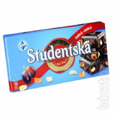 Шоколад черный Studentska с изюмом и арахисом. Чехия 180г