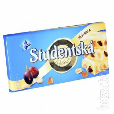 Шоколад Studentska Bila Белый с арахисом и желе,180г