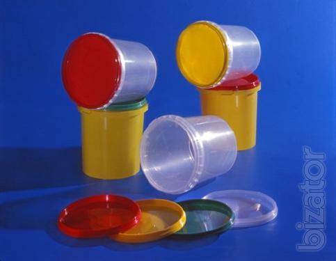 Ведро пластиковое прозрачное с крышкой 0,5л