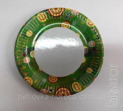 Тарелка бумажная ХТ18 100шт 16см (10/1000) Цветная