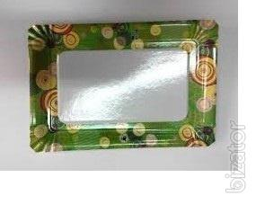Тарелка бумажная прямоугольная ХТ 100шт 15*22см (10/1000) Цветная