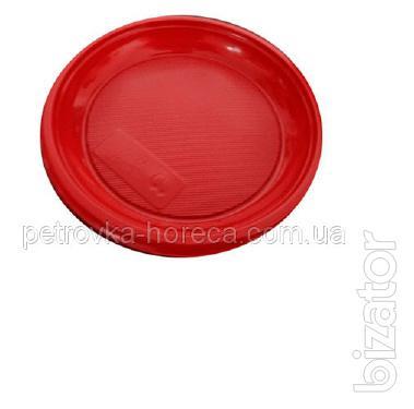 Тарелка пластиковая 16см 100шт Красная