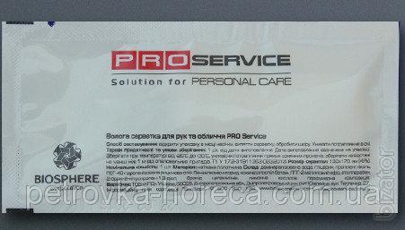 Салфетка влажная для рук и лица в индивидуальной упаковке PROservice 60*120 мм