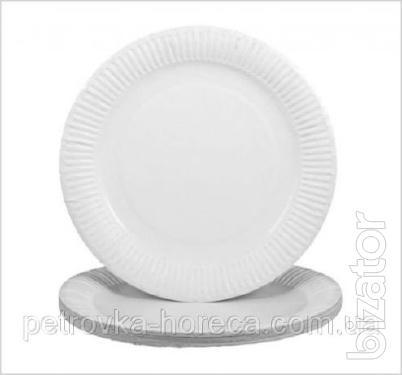 Тарелка бумажная Цветная и Белая ХТ18 100шт/уп 16см.