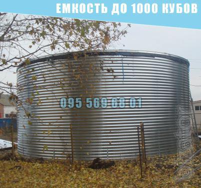 Емкость на 1000 кубов для воды, КАС, патоки, емкость 1000 куб. м