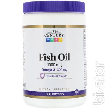Рыбий жир, Омега-3, 1000 мг, 300 капсул