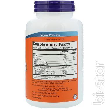 Омега-3, Now Foods, 200 мягких желатиновых капсул