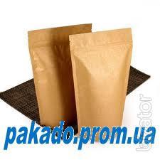 Бумажные пакеты дой-пак из крафт-бумаги со струнным замком (застежка zip-lock)