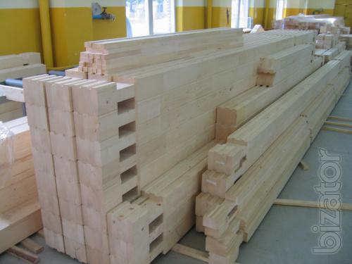 the glued laminated timber, logs, profiled beam. Production. The mounting.