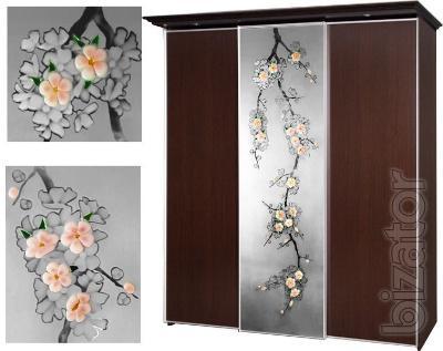 Художественное стекло, декорированные зеркала,  витражи для шкафов-купе.