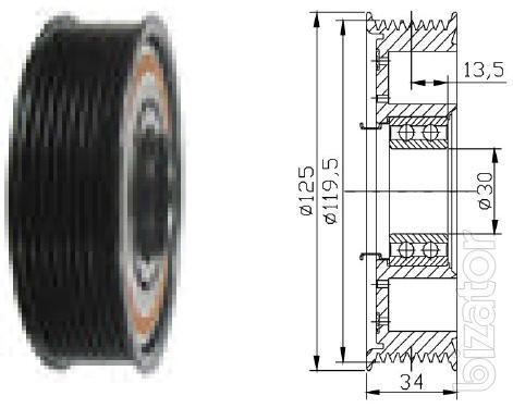 Муфта компрессора Denso 10PA15C/17C/20С , 10S17C John Deere, Claas, Fendt PV8 124.5mm 12V (В Зборе)