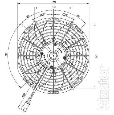Вентилятор авто кондиционера конденсатора 10 дюймов 12v (Kormas) (1300m/h) тянущий