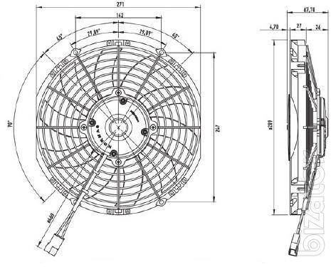 """Вентилятор осевой 10"""" дюймов (255 мм), 24В, толкающий, 1240 м3/ч (Kormas)"""
