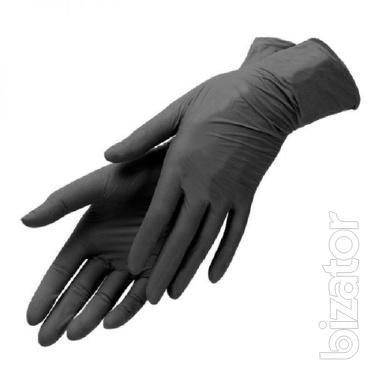 Нитриловые перчатки черные Киев.
