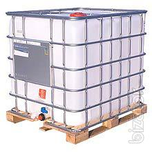 The cubic capacity of 1000 liters in a metal crate on a wooden pallet b/y