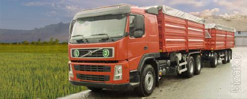 Services for transportation of grain, oilseeds, fertilizers, and other agricultural products.