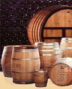 The oak barrels for wine, brandy, pickles.