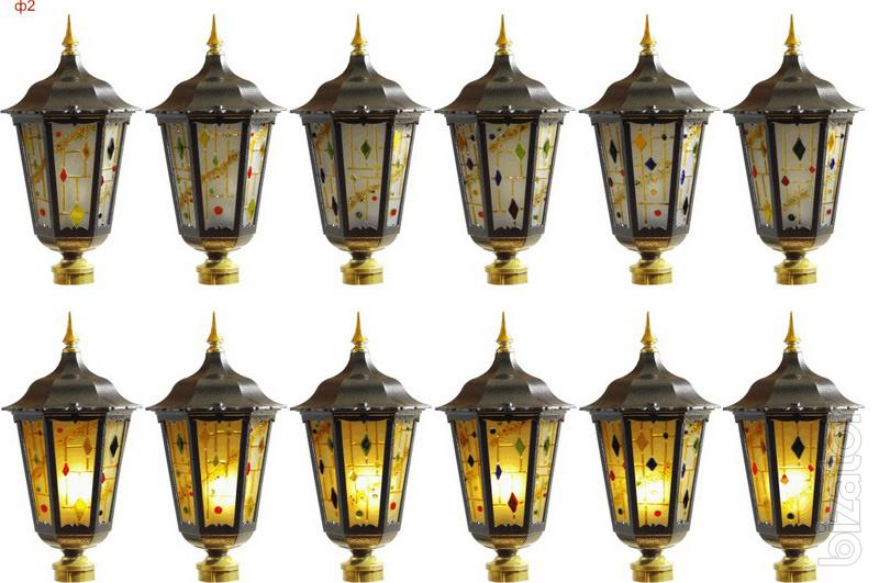 Stained glass lamps for niches, walls. The stained glass lamps and outdoor landscape.