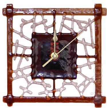 Decorative clock for any interior.Fusing, Swarovski crystals, hand made.