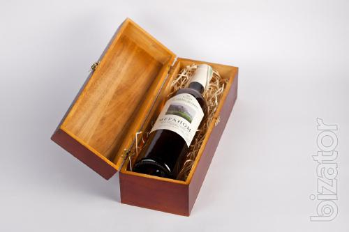Wooden boxes for wine bottles.