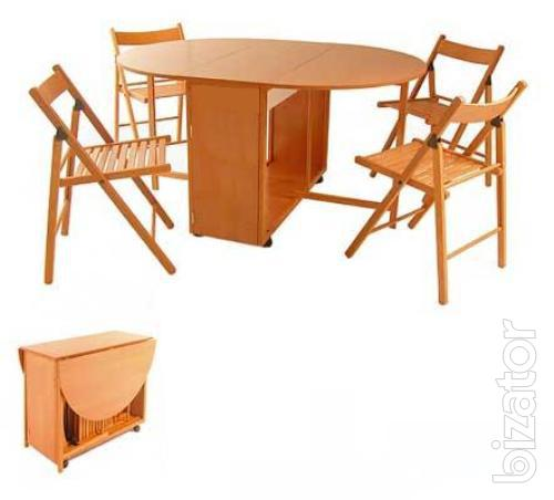 Sell folding table and 4 chairs nested inside the table for Html table inside th