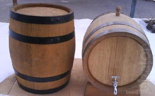 Oak barrels for storage of brandy and wine.Barrels of pickles