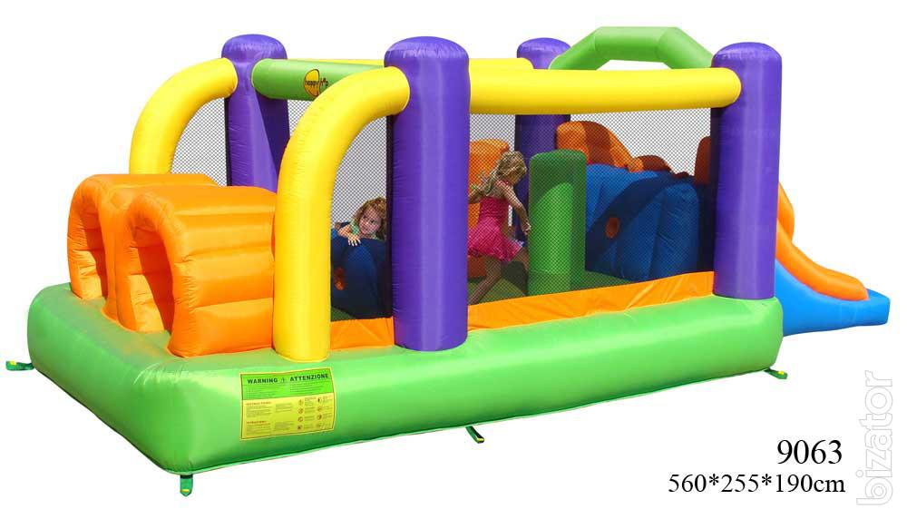 Inflatable water trampoline with slide obstacle course for Happy hop inflatable water slide