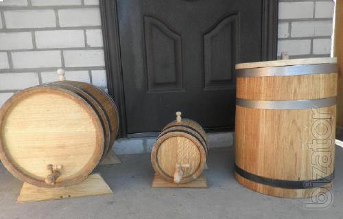 Oak barrels for wine, brandy, pickling vegetables and fruits