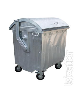 Container for collection of MSW (municipal solid waste) with sliding lid 1100 L. from the manufacturer warehouse!