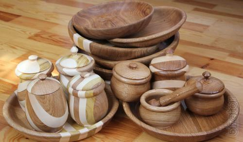 Tableware made of wood, Souvenirs made of wood, wooden utensils , preparation for painting
