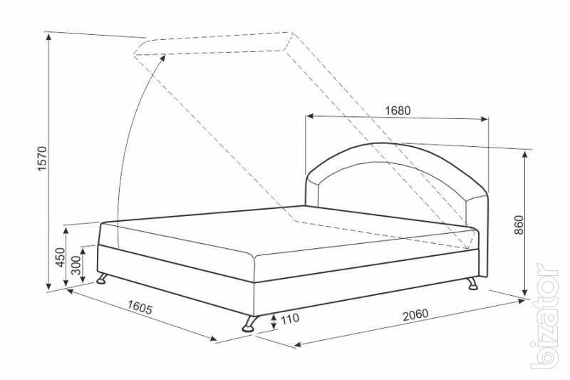 Двуспальная кровать с подъемным механизмом чертеж
