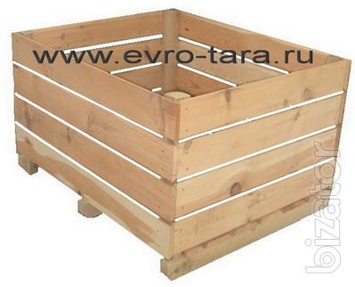 Wooden containers for vegetables, apples and other fruits, and seeds.