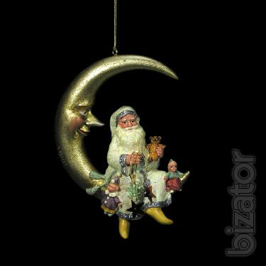 Christmas toy Santa on the moon, 10 cm, 2 types