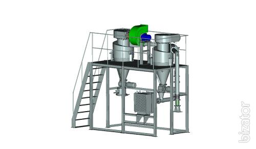 Pneumatic transport for fish, meat, grain flour with cooling function