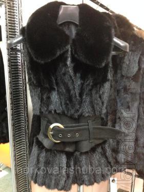 """Mink vest with wide suede """"corset"""""""