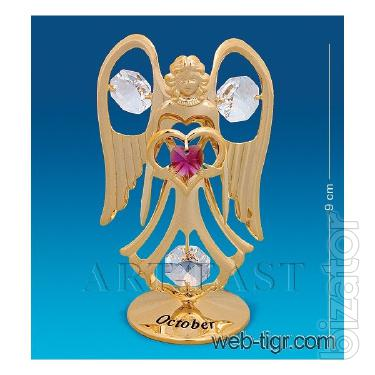 Figurine with Swarovski crystals angel of the month in the range of 9 cm AR-3477/10G