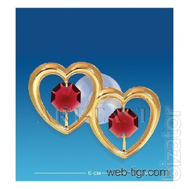 Figurine with Swarovski crystals on the magnet Hearts 6 cm AR -3115/ 1