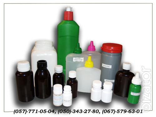 Plastic containers: bottles, boxes; Measuring spoons, cups; printing