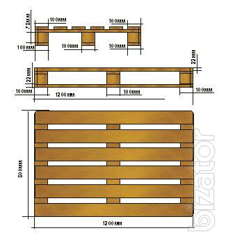 Sell wooden pallets as standard size (1200 X 800 mm, H mm) or according to customer's drawings.
