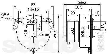 The motor D-32 127V 24 rpm, 72 rpm, FDLR-32-15-2 NF 220V Ob/min