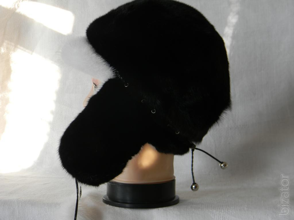 s winter fur hat with ear flaps of mink new buy