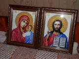 "Wedding icons, beaded ( ""our lady of Kazan"" and ""the Lord Almighty"" )"