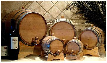 Oak barrels for home-made wines and brandies.