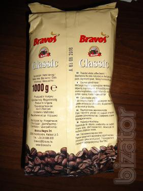 """Coffee """"Bravos"""" beans, 100% Robusta, 1 kg of Recommended varieties of coffee: Espresso, Capuccino, Cafe late. Not expensive."""