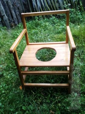 Chair - pot, handmade with wood to help mobility-impaired person